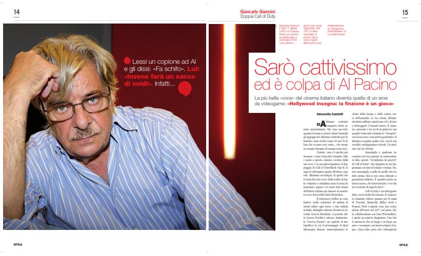 Il mio servizio su Style di novembre scorso: 4 pagine di intervista con Giancarlo Giannini.