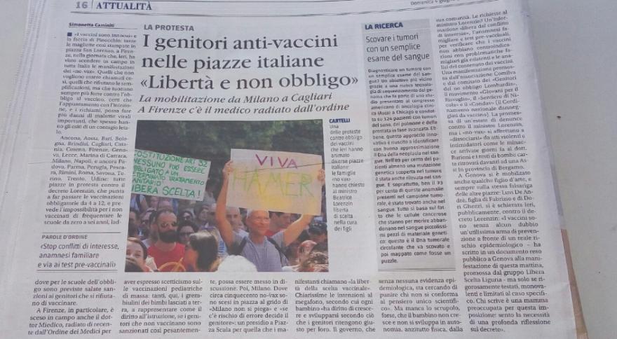 no vax giornale